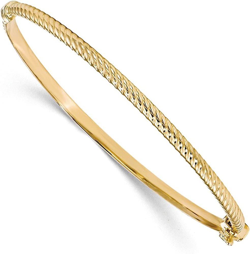 10k Yellow Gold Textured Bangle Cuff Bracelet 7