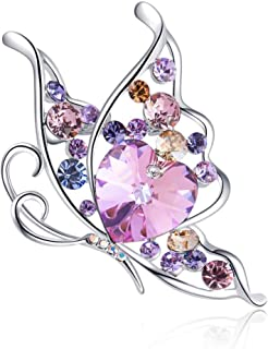 Rainbow Box Butterfly Brooches for Women with Swarovski Crystal, Rhinestone Women's Brooches & Pins