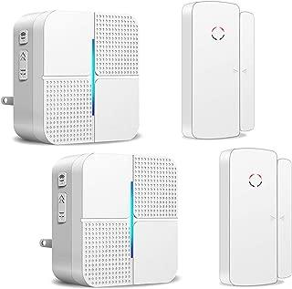 Wireless Door Open Chime Alert Door Entrance Entry Alarm for Business Home Store Office 2 Receiver & 2 Magnetic Window Sensor 52 Ringtones 4 Volume Level