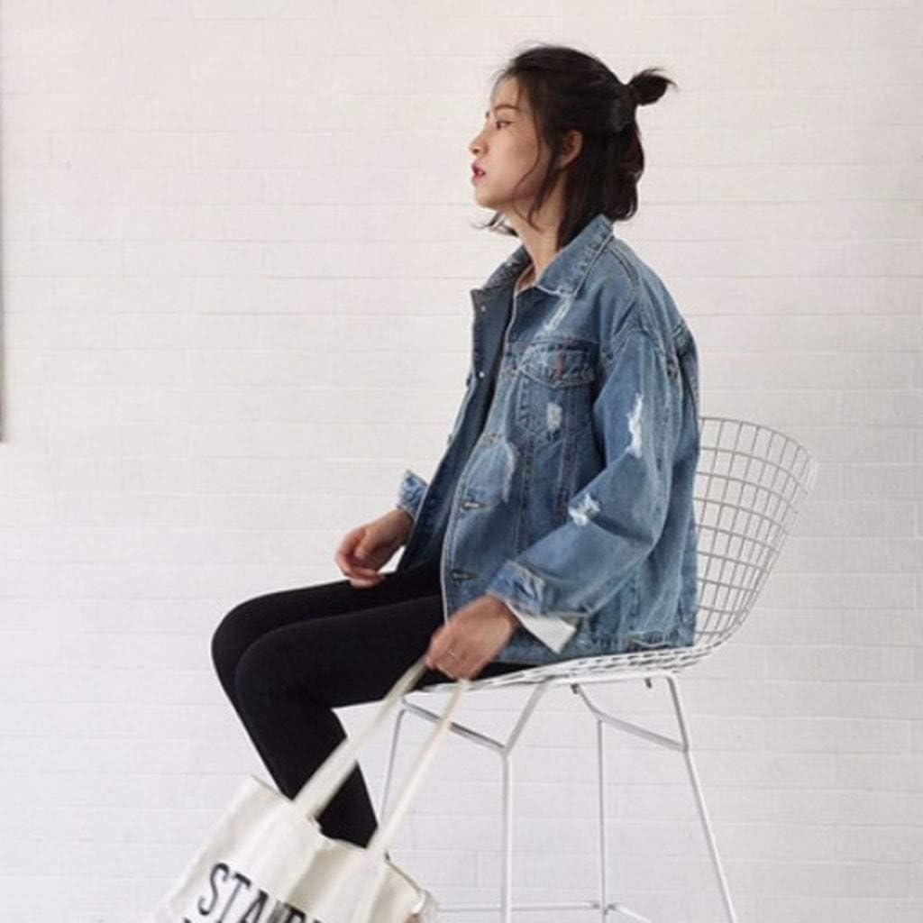 Balakie 2020 Womens Boyfriend Style Denim Jacket Loose Motorcycle Punk Ripped Hole Coat
