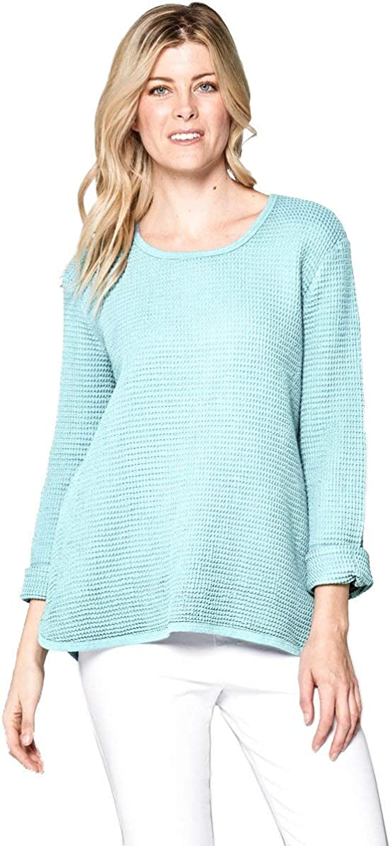 Focus Fashion Women's Cotton Waffle Round Neck Long Sleeve Top C-691 Sky