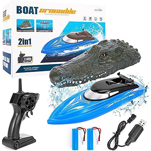 2 1RC 보트 아이와 성인을 위한 SAKIYR2.4GHZ10KM   H 전기 보트 레이싱으로 두 가지 터보 시뮬레이션은 머리를 악어의 원격 제어트에 대한 수영장 및 호수 두 개의 배터리