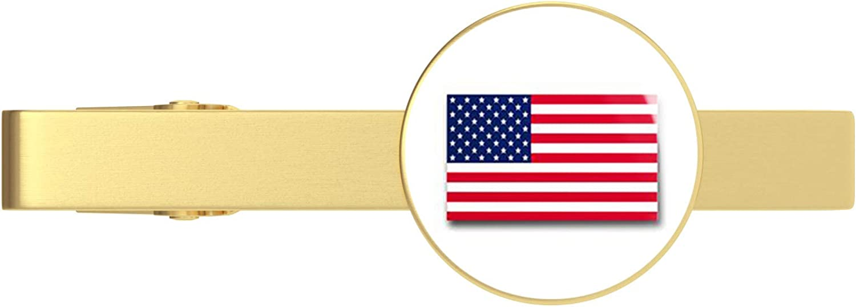 HOF Trading American Flag Military Veteran Served Gold Tie Clip Tie Bar Veteran Gift