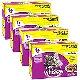 Whiskas - Alimento humedo para gatos, en gelatina (Aves, Pato, Pollo, Pavo), 48 paquetes x 100g
