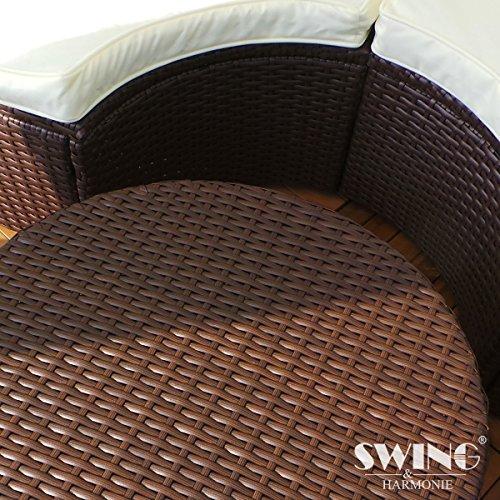Swing & Harmonie Polyrattan Sonneninsel mit LED Beleuchtung + Solarmodul inklusive Abdeckcover Rattan Lounge Sunbed Liege Insel mit Regencover Sonnenliege Gartenliege (210cm, Grau) - 2