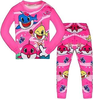 AOVCLKID Toddler Girls Baby 2 Pcs Pajamas Shark Cartoon Print Nightgown