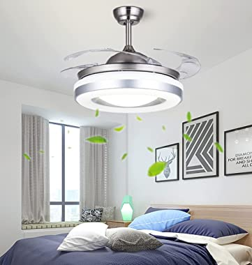 """42"""" Modern Ceiling Fans Indoor with Light and Remote, Silver Retractable Ceiling Fan for Farmhouse Bedroom, 3 Speeds 3 Co"""