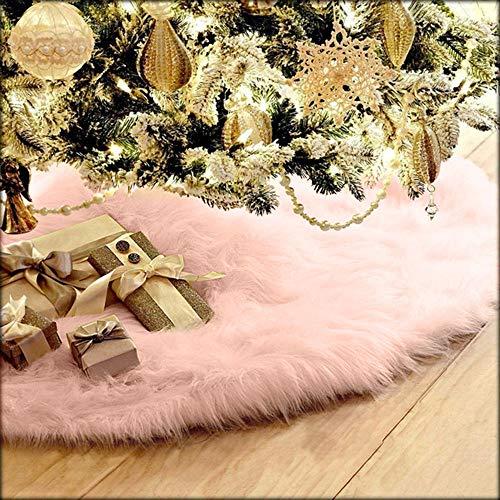About1988 Weißer Plüsch Weihnachtsbaum Rock, Kunstfell Weihnachtsbaum Röcke, Rund Weiß Weihnachtsbaumdecke Christbaumständer Teppich Decke Weihnachtsbaum Deko (Rosa(75CM))