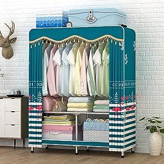 Armoire pliante Liuyu - Armoire simple en tissu - Cadre en acier - Assemblage pour location, dortoir, chambre à coucher