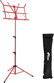 Tiger Folding Sheet Music Stand with Bag - Portable Folding Music Stand in Red