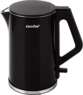 COMFEE' MK-15H01A1B 1.5L Electric Kettle Stainless Steel Cool Touch Double Wall Auto Shut-off and Boil-Dry Protection, Anti splashing Lid, Cordless, Black