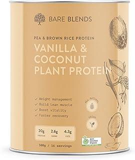 Bare Blends - Vanilla & Coconut Plant Protein | Vegan Protein Powder | Certified Organic | Gluten Free | 500g
