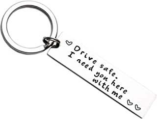Drive Safe I Need You Here with Me Keychain for Husband Son Keychains for Boyfriend Trucker Fathers Day Gifts Key Chain from Daughter