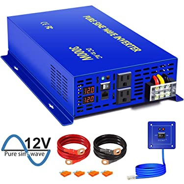 XYZ INVT 3000W Pure Sine Wave Power Inverter - 12V DC to AC 120V 110V with 15ft Cable Remote Switch Controller, Surge Power 6000w, Power Converter for Off Grid Solar Power System. (3000W 12V/15ft RC)