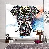 N / A Elefante étnico Mandala Tapiz Manta de Pared Colgante de Pared Creativo hogar decoración de la cabecera Manta de Pared decoración de Granja casa de Playa de poliéster Yoga mantón Q1 100x70cm