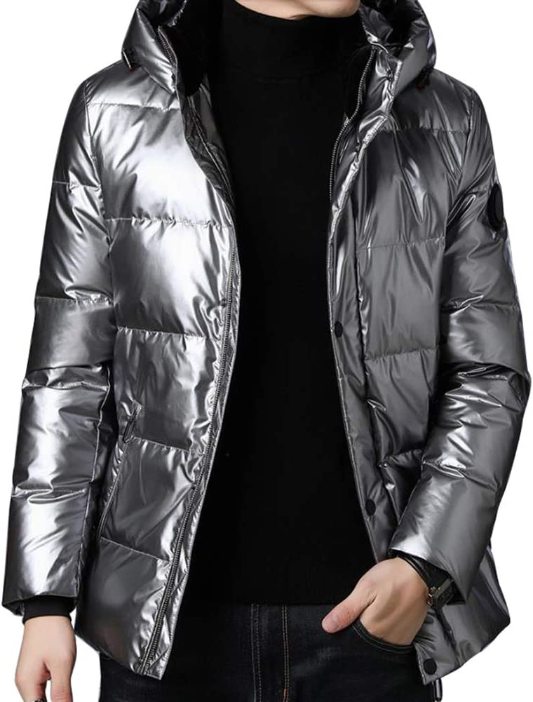 Down jacket Winter Men's Hooded, Short Paragraph Thicken Middle-Aged Warm Jacket, Padding: 90% White Duck Down (Size: M, L, XL, 2XL, 3XL)