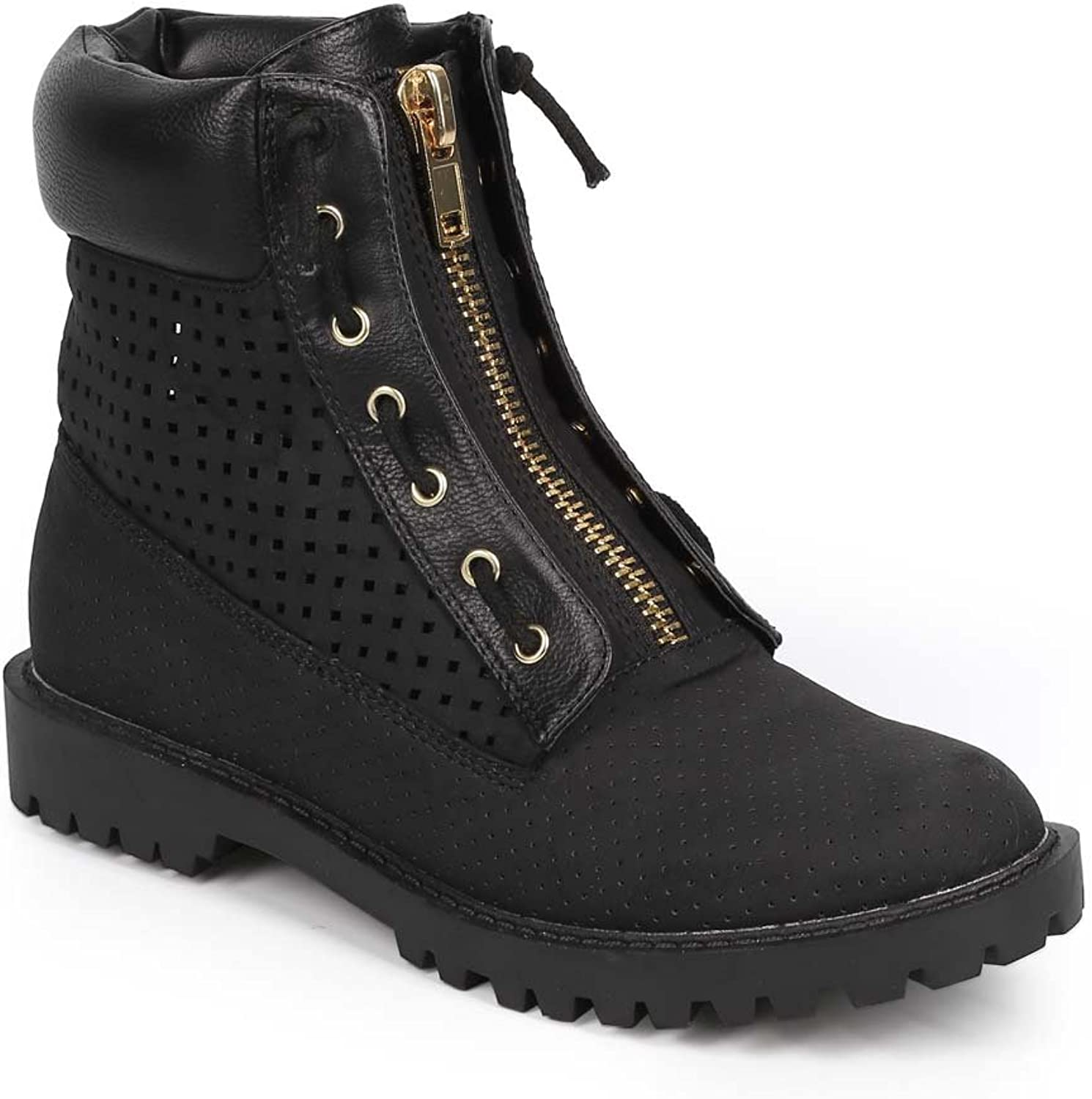 Liliana DA68 Women Leatherette Perforated Cushion Cuff Work All Weather Boot - Black
