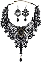 DREAMAC Black Lace Choker Beads Chain Gothic Lolita Pendant Vintage Princess Party Necklace Earring Bracelet for Women