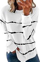 XYJD Lente en zomer vrouwen casual losse ronde hals streep afdrukken effen kleur lange mouwen trui top T-shirt vrouwen