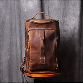 QH Original Handmade Men's Backpack, Vintage Suede Leather Backpack, Large-Capacity Outdoor Wild Travel Bag (Color : Retro Brown)
