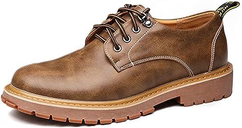 XIANGBAO-Personality Chaussures de Travail pour Hommes Simples en Cuir Cuir PU Décontracté Lace Up Flats de Semelle Souple (Couleur   Kaki, Taille   42 EU)