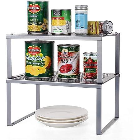 2 Pack Kitchen Shelf Organizer Cupboard Storage Shelf Stackable Expandable Storage Rack For Kitchen Accessories Utensils Food Silver Amazon Co Uk Home Kitchen