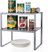 HAITRAL Plankinzet voor keukenkast, set van 2 metalen keukenrek, organizer, uitbreidbaar en stapelbaar werkblad organizer,...