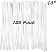 HAODE FASHION 120 Pack Long 14 Inch White Clear Strong Cable Ties, Upgrade Industrial UV Resistant Durable Life Zip Ties, Heavy Duty Cable Management for Large Objects (50LB, White, Outdoor Use)