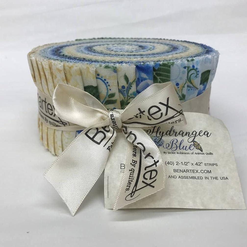 Jackie Robinson Hydrangea Blue Pinwheel 40 2.5-inch Strips Jelly Roll Benartex