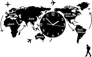 خريطة العالم من الأكريليك ثلاثية الأبعاد مع مجموعة ساعة - ساعات حائط سوداء MDF World Clocks علامات القارات البلدان ديكورات...