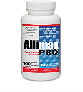 Allimax Pro 450mg 100 Capsules. Professional Strength Support for Your Body's Immune Function Through Natural Allicin, a Potent Compound Extracted from Clean and Sustainable Spanish Grown Garlic.
