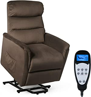 Giantex Power Lift Massage Chair Recliner for Elderly Soft and Warm Fabric, with Remote Control for Gentle Motor Living Room Furniture, Chocolate (Massage Function)