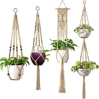 Mkono Macrame Plant Hangers 4 Pcs Indoor Outdoor Hanging Planter Basket Jute Rope Flower Pot Holder Boho Hippie Style