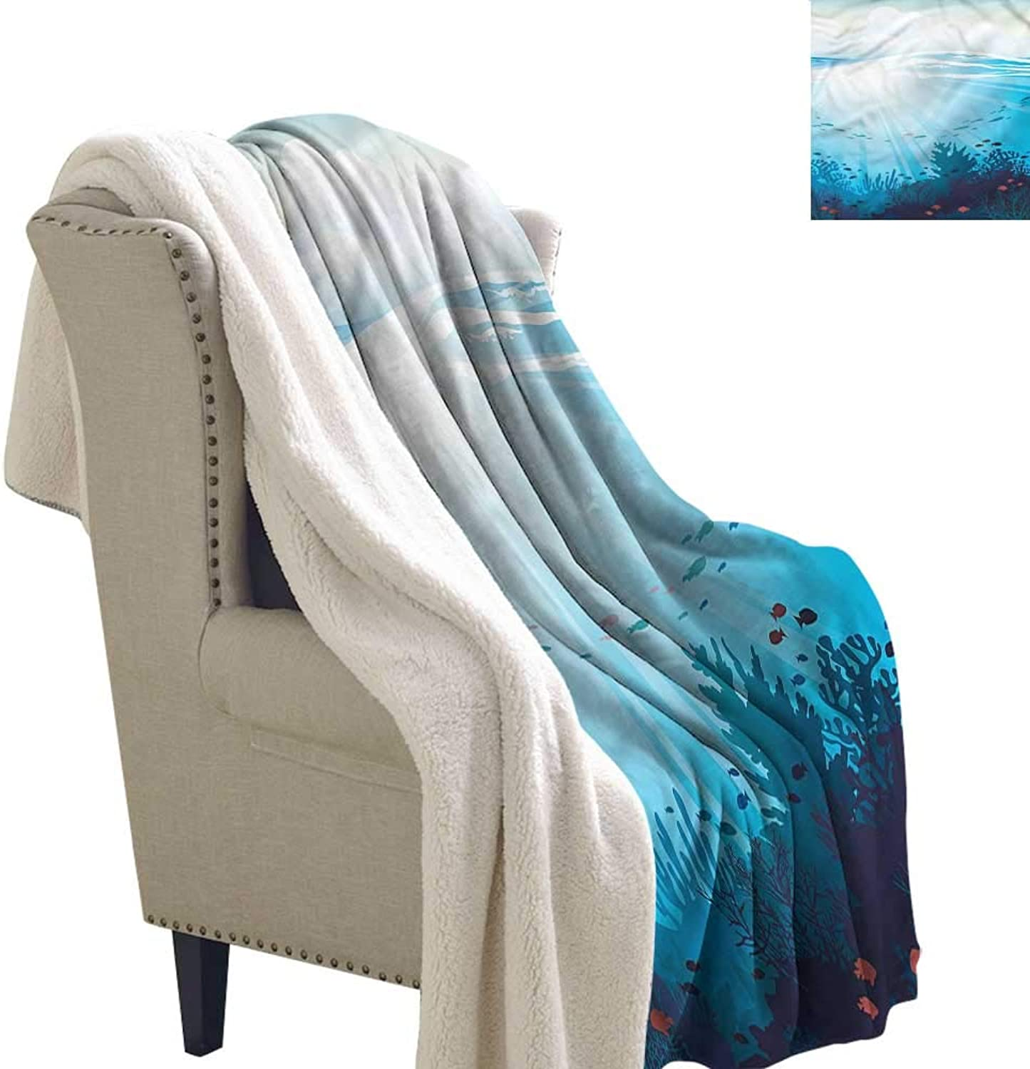 Cartoon Flannel Bed Blankets Fish Aquarium Coral Reefs for Bed, Couch, Sofa, Chair, 60x47 Inch