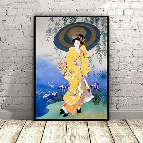 Impression Sur Toile,Fleurs Parapluie Japonais Geisha Peinture Traditionnelle Asiatique Affiches Murales Art Mural Photo Artwork,Modulaire Accueil Cuisine Chambre Bureau Décoration Verticale,40*50Cm