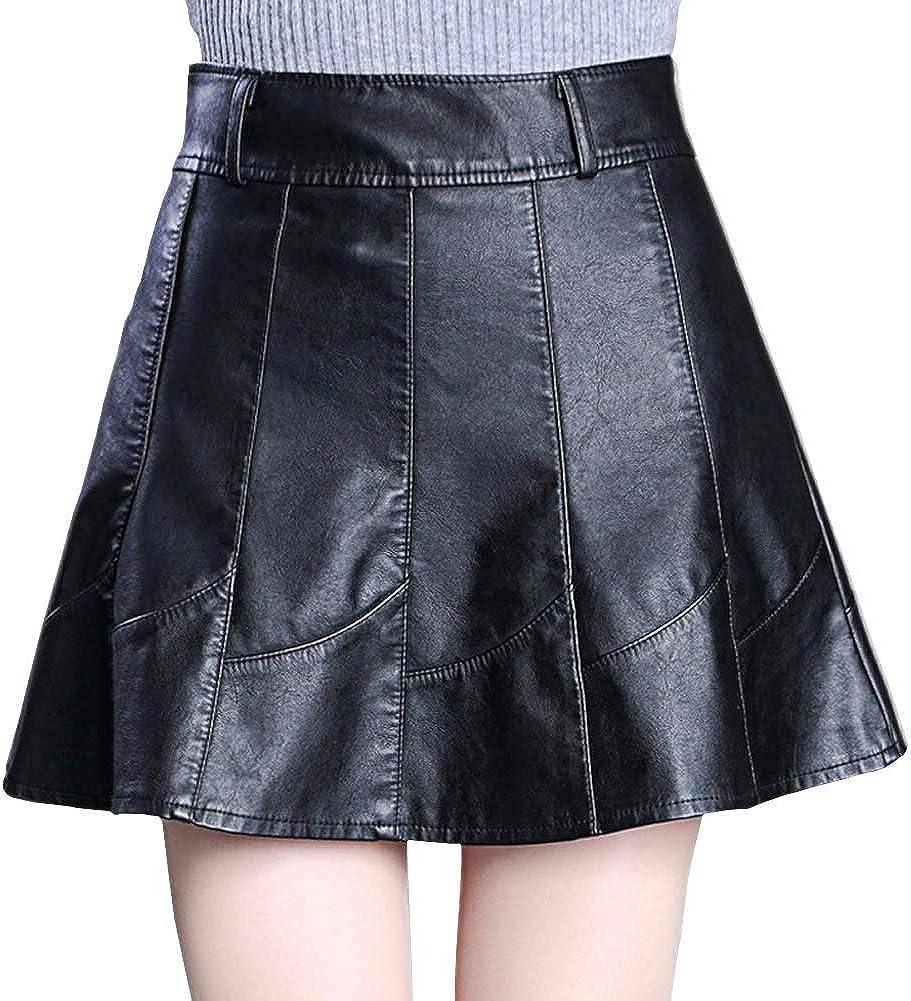 DISSA FS6933 Women Pu Leather Plus Size Mini A-Line Club Skirt