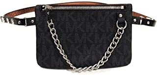 Michael Kors MK Fanny Pack Belt With Pull Chain,Black/Grey, Small