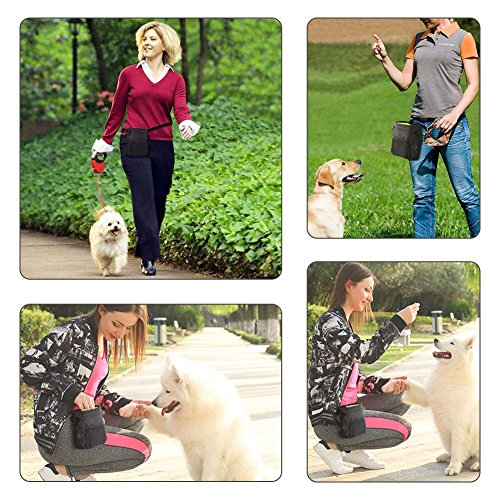 犬用訓練バッグウエストポーチ散歩用外出用ペット用品小物入れ給食多機能防水小型犬中型犬大型犬に向けベルト付きブラック