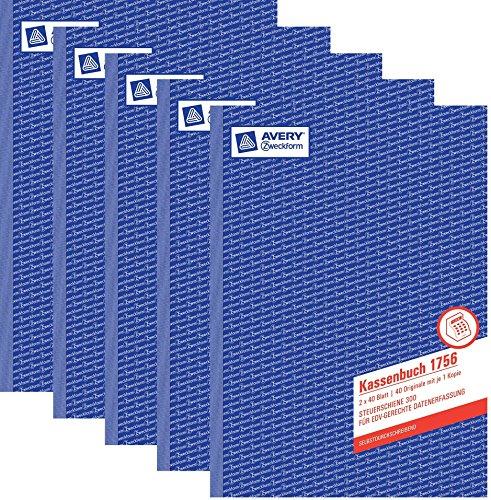 Avery Zweckform© 1756 Kassenbuch, DIN A4, nach Steuerschiene 300, 2 x 40 Blatt, weiá, gelb