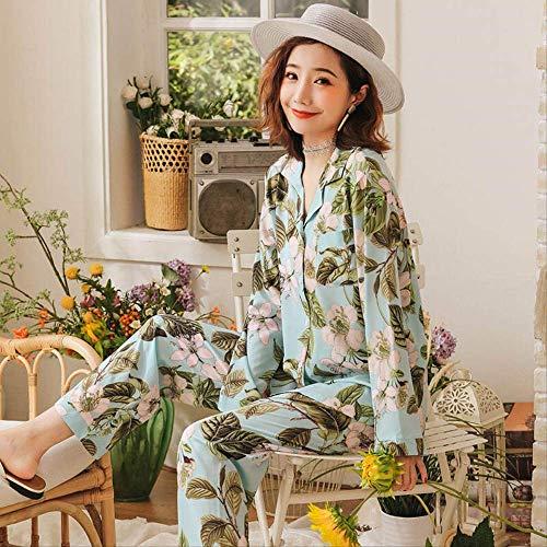 XFLOWR Herfst Dames pyjama Set Elegante Bloemen Gedrukt Lange Mouw Ijs Zijde Zachte Satijn Slaapmode Femme Lange Mouw Huiskleding