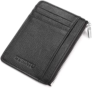 Credit Card Wallet, RFID Blocking Genuine Leather Card Zipper Holder Anti Theft Slim Pocket Purse for Men & Women