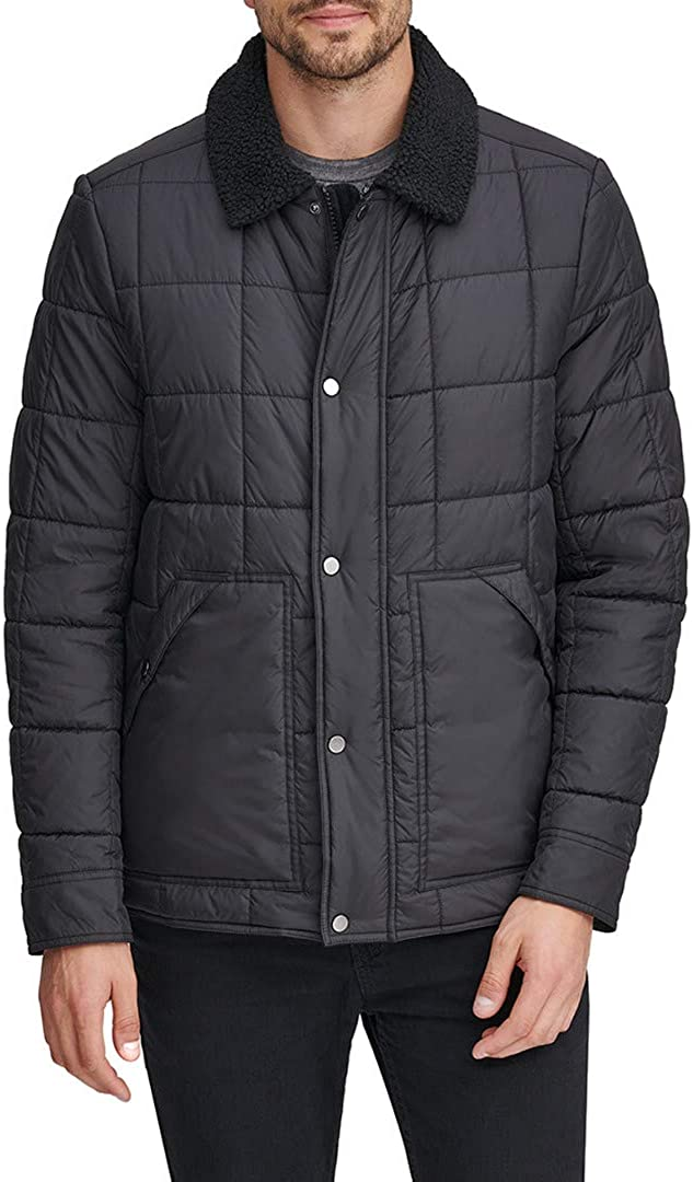 Marc New York by Andrew Marc Men's Brixton Faux Sherpa Lined Box Quilted Jacket