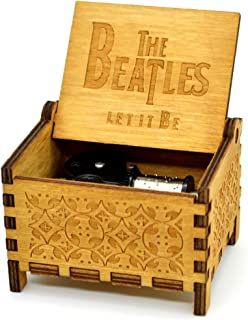 Wooden Wind Up Music Box Clockwork Mechanism Play Tnue Let It Be 18 Note Antique Classic Gift for Friends Novel Gifts for Child (The Beatles)