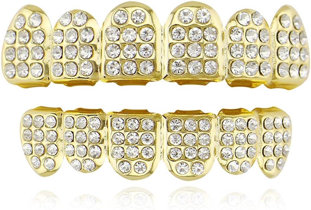 OOCC 18k Gold 6 Teeth Grillz Hip Hop Joker Diamond Top & Bottom Teeth Caps Grillz Set
