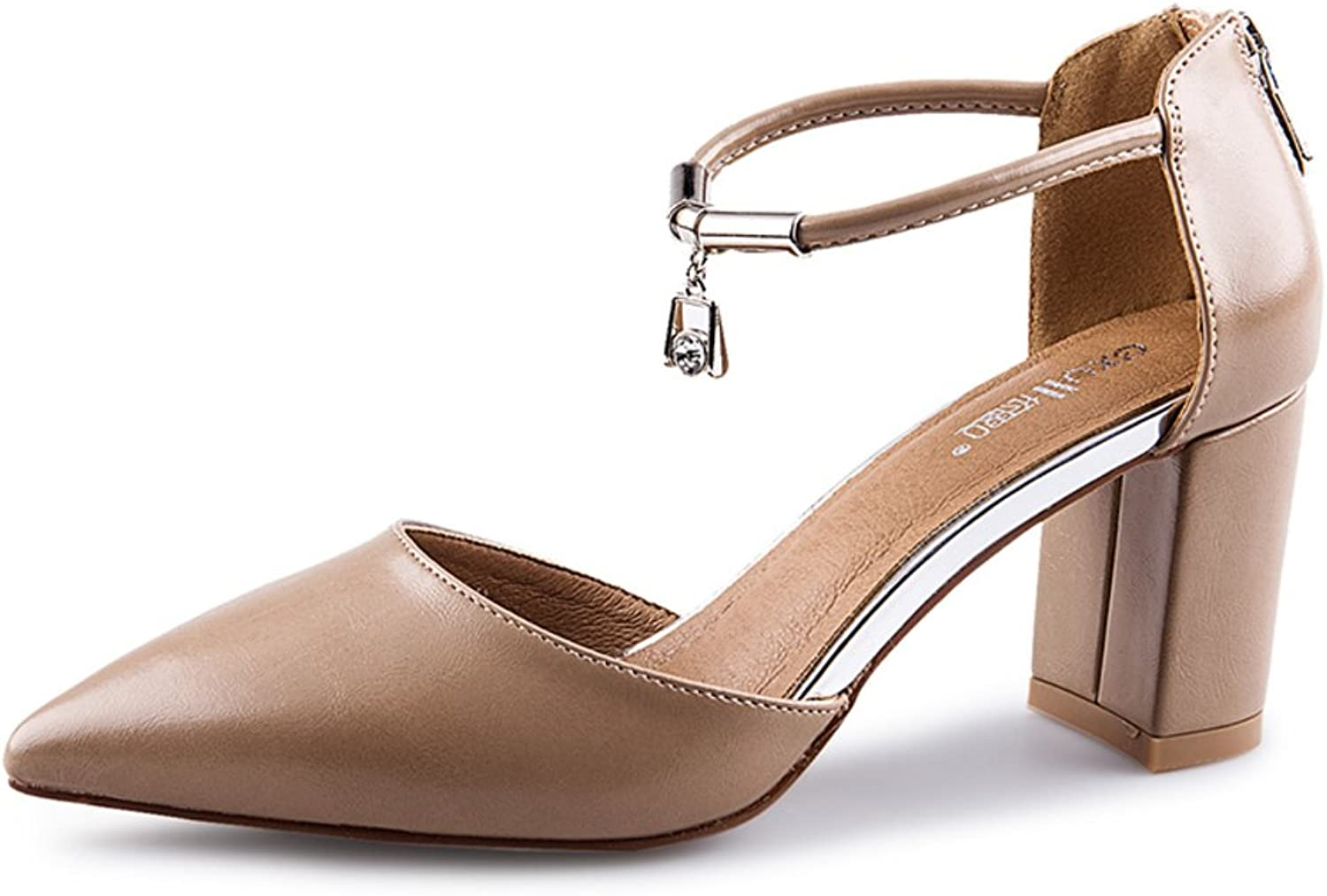MET RXL Summer,Pointy shoes Lady,Low-Cut shoes A Buckle,Chunky Heel Sandals High Heel shoes