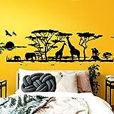 Grandora W683 Tatuaje de Pared África Sabana Animales I Negro 190 x 58 cm I Elefante Jirafa salón habitación Adhesivo de Pared Adhesivos murales