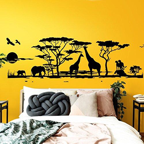 Grandora Wandtattoo Afrika Savanne Tiere I schwarz (BxH) 190 x 58 cm I Elefant Giraffe Wohnzimmer Schlafzimmer Sticker Aufkleber Wandaufkleber Wandsticker W683