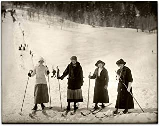 Lady Skiiers - 11x14 Unframed Art Print - Makes a Great Ski Lodges and Mountain Cabins Decor Under $15