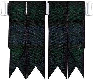Black Watch Tartan Kilt Hose Sock Flashes with Heavy Buckle Adjusters