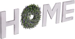 Wooden Decoration Home Wood Home Letters for Wall Art with Artificial Eucalyptus Wreath Rustic Home Decor, Wall Decor for Living Room Kitchen Housewarming Gift